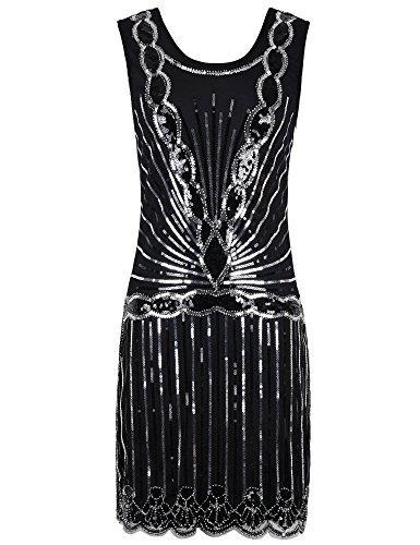kayamiya Damen 1920er Pailletten Perlen Zurück tiefer V Gatsby Flapper Abendkleid M Silber