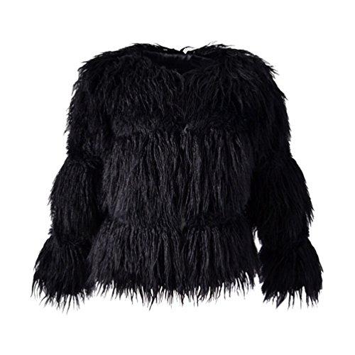 Yuandian donna autunno e inverno casuale giacca finta pelliccia ecologica maniche lunghe cappotto di pellicce del faux sintetica pelo giubbotto pellicciotto nero s