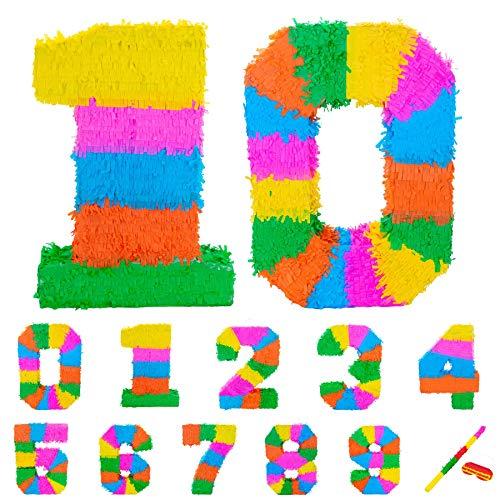 Fax Potato Pinata Set mit Stick & Blindfold - 10. Geburtstag/Jahrestag - Rainbow