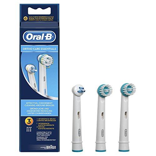 Oral-B Ortho Care Essentials Kit Aufsteckbürsten (Ersatzbürstenköpfe für elektrische Zahnbürste, Zahnzwischenräume reinigen, schützt vor Karies, Tiefenreinigung, powered by Braun) 3 Stück