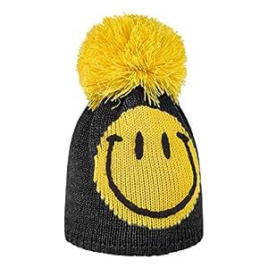 Brekka Bonnet à pompon pour garçon Motif smiley Jaune jaune One size