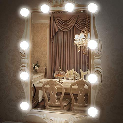 Domc Dreifarbige Kosmetikspiegelbirne, Hollywood LED-Spiegelscheinwerfer, Abblendbarer Spiegelsatz Mit 10 Birnen, Beleuchtungsstreifen Für Frisierkommode (Ohne Spiegel) -