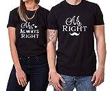 Mr Right Mrs Always Right King Queen Partner Look Pärchen Valentinstag T-Shirt, Größe:M;Partner Shirts:Herren T-Shirt Schwarz