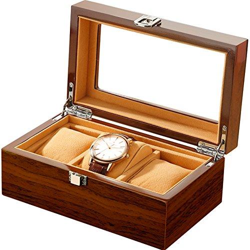 L.HPT® Uhr Display Box Mit Weichen Kissen 3 Grids Für Armbanduhren Schmuck Armband Sammlungen,Brown