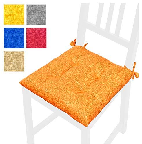 Cuscino coprisedia morbidissimi 40x40 cm universali imbottiti con spugna e ovatta con laccetti 100% made in italy mod.calla6 arancione (s)