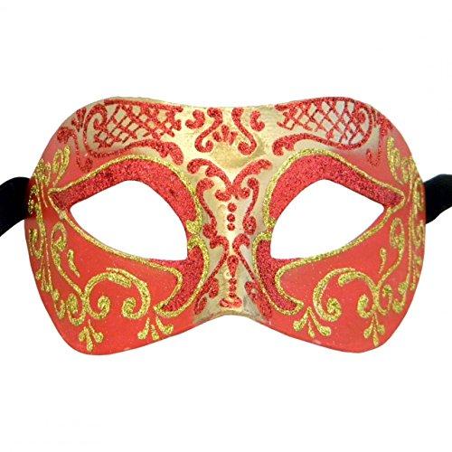 Rot und Gold Settecento Colombina venezianischen Masquerade Maske Beige _ 16.0000 (Colombina Kostüme)