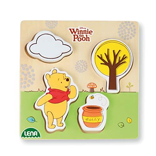 Lena 32121 - Holzlegespiel mit Disney's Winnie The Puuh Figur Puuh der Bär, Puzzle für Kinder ab 18 Monaten aus 100% FSC Holz, mit 4 Teilen im Brett, ca. 14 x 14 cm, Puzzleteile separat bespielbar