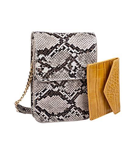 SIX Brusttasche, stylisches Portemonnaie zum umhängen, aus veganem Leder in Schlangenoptik (703-626)