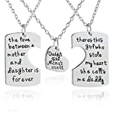 "3-teiliges Familien-Schmuckset ""I Love U""-Anhänger-Halskette für Tochter, Vater, Mutter"