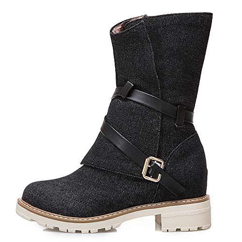MYMYG Frauen Wedges Booties Middle Tube Leder Stiefel Schuhe Schnalle Boot Leinwand Halbschaft Stiefel Stiefeletten Biker Boots...