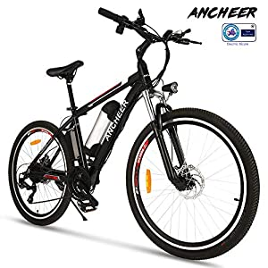 Ancheer Elektrofahrrad 26Zoll/20Zoll Zoll E- Bike Mountainbike, 25-50km/h Meilen Kilometerstand, 36V 8AH Abnehmbarer Akku and 21 Gang Getriebe (26Zoll /20Zoll) (Schwarz - 26 Zoll -21Gang)