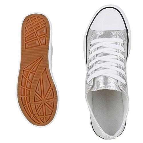 Elegante Damen Sneakers low | Glitzer Canvas Schuhe | Turnschuhe Freizeit | Gr. 36-41 Silber Metallic