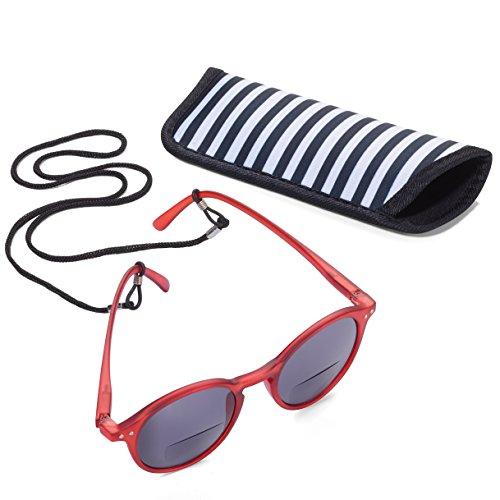 Sonne Reader (TROIKA SUN READER 2 - SUR25/BR- Lesesonnenbrille mit Etui - bifokal - Stärke +2,25 dpt - Lesebrille + Sonnenbrille - Polykarbonat/Acryl/Mikrofaser - rot - das Original von TROIKA)