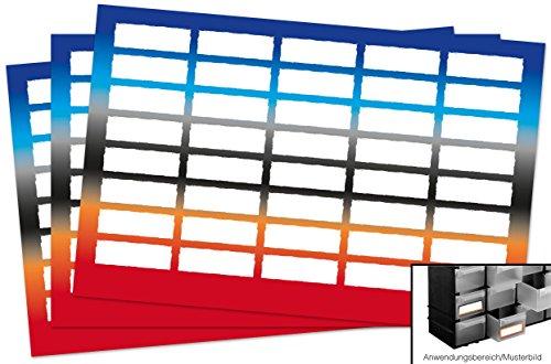 Kigima 120 edle Aufkleber Sticker Klebe-Etiketten Leer 4x1,5cm rechteckig bunt Ombre-Look perfekt für Geschenke, Hochzeit oder Tischdeko Leer Eingelegte Gläser
