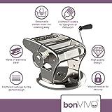 bonVIVO® Pasta Mia (NEUES DESIGN) Nudelmaschine aus Edelstahl in Chrom-Look, für den italienischen Pasta-Genuss aus der eigenen Küche, mit rutschfesten Ansaugsockel -