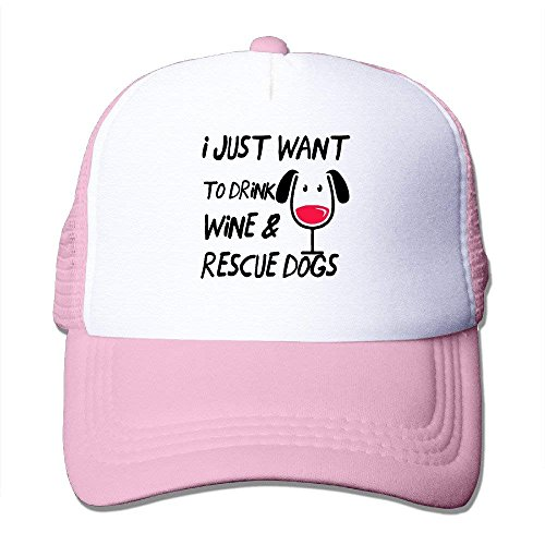 Pillow hats Drink Wine Rescue Dogs Designed Cool Hat Pink
