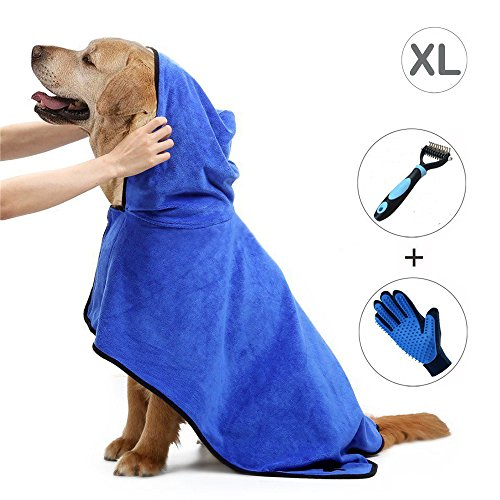 Ownmax Dog Bathrobe Towel, Pet Bath Robe with Adjustable Straps Hood Microfiber Fast Drying, Dog Grooming Glove and Grooming Dematting Rake Brush Comb Included (XLarge: 29 inch)