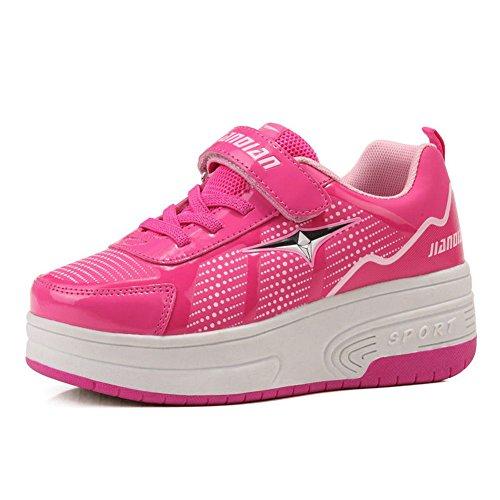 Skate-sapatos, Rolar Com Dobra, Rosa Adequado Para Rapazes E Raparigas (rodas Duplas)