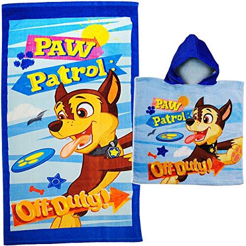 alles-meine.de GmbH 2 TLG. Set _ Badeponcho + Badetuch / Strandtuch - Paw Patrol - Hunde - 100 % Baumwolle 70 cm * 140 cm - Poncho / Kapuzenhandtuch - Frottee / Velours - Handtuc.. Velours-poncho