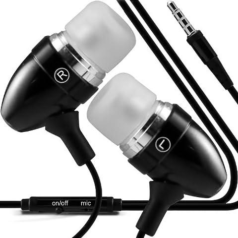 ONX3 Sony Xperia Z1 (negro) Calidad Premium en auriculares de botón estéreo de manos libres de auriculares Auriculares con micrófono Mic y botón de encendido y