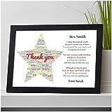Personalised Thank You Teacher Gift STAR School Teacher TA Nursery Leaving Poem - Gifts for Teachers, Teaching Assistants, Nursery Teachers - ANY NAME - A5 A4 Framed Prints or 18mm Wooden Blocks