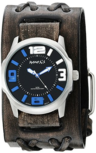 Nemesis Men's 107VDXB-KL Black/Blue Embossed 3D Series Faded Black Double X Leather Cuff Band Analog Display Japanese Quartz Black Watch