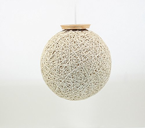 Eartho Hanging Lamp with yarn (Large, Beige)
