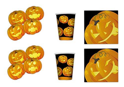(Halloween Kürbis koordinierten Dekorationen Party–Kit N ° 3cdc- (24Teller, 24Gläser, 32Servietten))