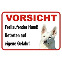 """Schild Vorsicht WEIßER Schäferhund """"Freilaufender Hund"""" 15x20 oder 20x30 (20x30cm)"""