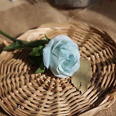 Xqi wangpu Künstliche Blumen 5 Zweig-einzelne Moderne zeitgenössische Hirtenart-Rosen-Tischplatte-Blume, hellblau - Kopf-tisch-mittelstücke