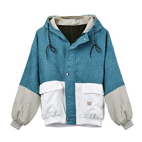 Huhu833 Damen Mantel, Damen Langarm Cord Patchwork Oversize Reißverschluss Jacke Windbreaker Mantel (Blau, Medium)