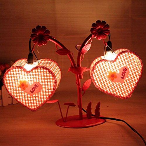 SQDTNSLT-moda cuore doppio lampade in ferro battuto e amore creativo che esprimono più piccoli ornamenti home soggiorno camera da letto Decorazione lampada luce