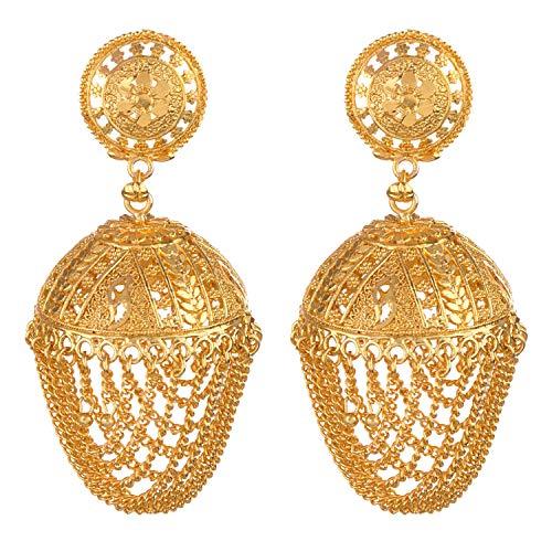 Efulgenz indisches Bollywood 14 Karat vergoldet Jhumka Jhumki Hochzeit Brautschmuck geschichtete Fransen baumelndes Ohrringe Set Schmuck