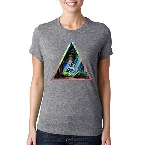 Fantasy forest mystic sign triangle logo dope Dammen baumwolle t-shirt Grau