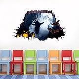 VEMOW Heißer Verkauf Halloween Wandtattoo 3D Happy Halloween Haushalt Zimmer Boden Wandaufkleber Wandbild Dekor Aufkleber Abnehmbare 75 cm * 34 cm