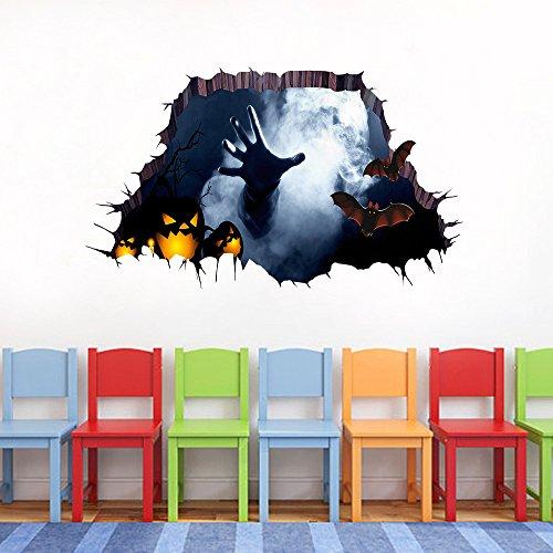 VEMOW Heißer Verkauf Halloween Wandtattoo 3D Happy Halloween Haushalt Zimmer Boden Wandaufkleber Wandbild Dekor Aufkleber Abnehmbare 75 cm * 34 ()