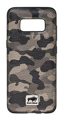 Solo Pelle Samsung Galaxy S8+ S8 Plus Case Lederhülle Ledertasche Backcover Flex aus echtem Leder in Camouflage Taupe inkl. Edler Geschenkverpackung - Taupe Strauß