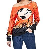 Taiduosheng Halloween Sweatshirt Pullover Off Shoulder Print Pumpkin Tops Orange Halloween Costume Blouses M