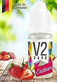 V2 Vape E-Liquid Erdbeer - Luxury Liquid für E-Zigarette und E-Shisha Made in Germany aus natürlichen Zutaten 10ml 0mg nikotinfrei