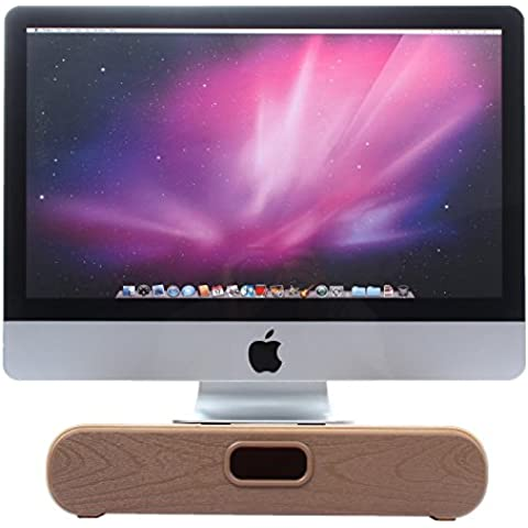 eimolife Soporte de madera natural vertical para Apple iMac - Artesanía Titular para el ordenador portátil, Monitor / Pantalla de Dell, HP, Sony, Lenovo, Acer, ASUS, etc - Organizador de escritorio (Monitor, Walnut)