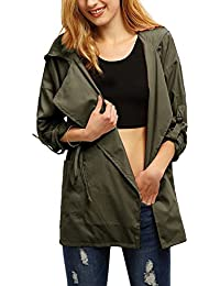 Women Roll Up Sleeves Split Lapel Parka Military Hoodie Trench Coat with Pocket