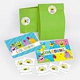 12 Einladungskarten zum Kindergeburtstag für Mädchen und Jungen lustige Monster incl. 12 Umschläge, 12 Tüten / grün, 12 Aufkleber / Bunte Einladungen zum Geburtstag / Bunte Geburtstagseinladungen