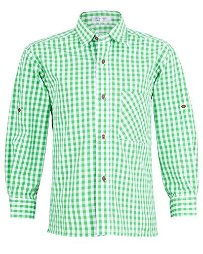 Grün Weiß kariert Gr. 152 - Schönes Trachten Hemd für Kinder in verschiedenen Farben verfügbar - Perfekt zur Lederhose für Buben ()