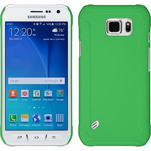 PhoneNatic Case kompatibel mit Samsung Galaxy S6 Active - Hülle grün gummiert Hard-case + 2 Schutzfolien