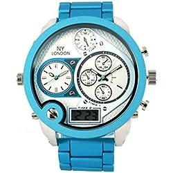 Men's Dual Timer Watch Blue Metallic Strap - Digital & Analogue Time