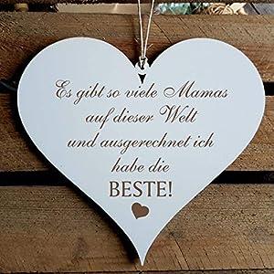 Schild Herz BESTE MAMA der Welt ca. 13 x 12 cm - mit Spruch