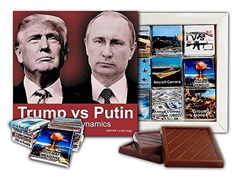 DA SCHOKOLADE ★ Trump gegen Putin Die Power Dynamics ★ Schokolade Geschenk Set Politische Süßigkeiten Gag Geschenk Idee ★ 9 dunkle Schokolade Stück 13.5x13.5 cm Box (Schwarz-Weiss)