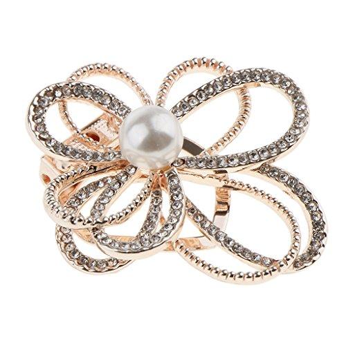 Baoblaze Vintage Strass Brosche Blumen Pin Anstecknadel Rund Stil Brosche für Damen - Geschenk - Gold