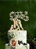 Topper per torta nuziale, sposi con cane silhouette cake topper con iniziali Mr Mrs Tree Rustic cake topper