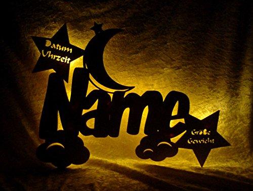 Schlummerlicht24 Led Holz Nachtlicht 'Wolken-Mond' Name-n und Datum individuell personalisiert, Taufgeschenk-e Geschenk-e zur Geburt Taufe Kommunion Paten-Kind Mädchen Junge-n (Mit Zugschalter)